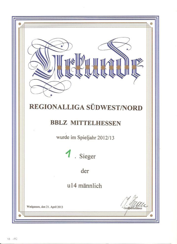 Urkunde BBLZ U14
